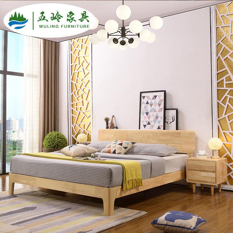WULING Nội thất Nankang Giường gỗ sồi Bắc Âu Giường gỗ 1,2 m 1,5 m / 1,8 m