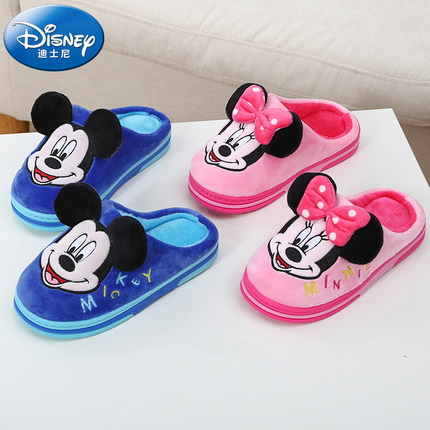 Disney dép trẻ em Disney mùa đông dép bông hoạt hình dễ thương nhà ấm áp bé trai và bé gái dép mềm t