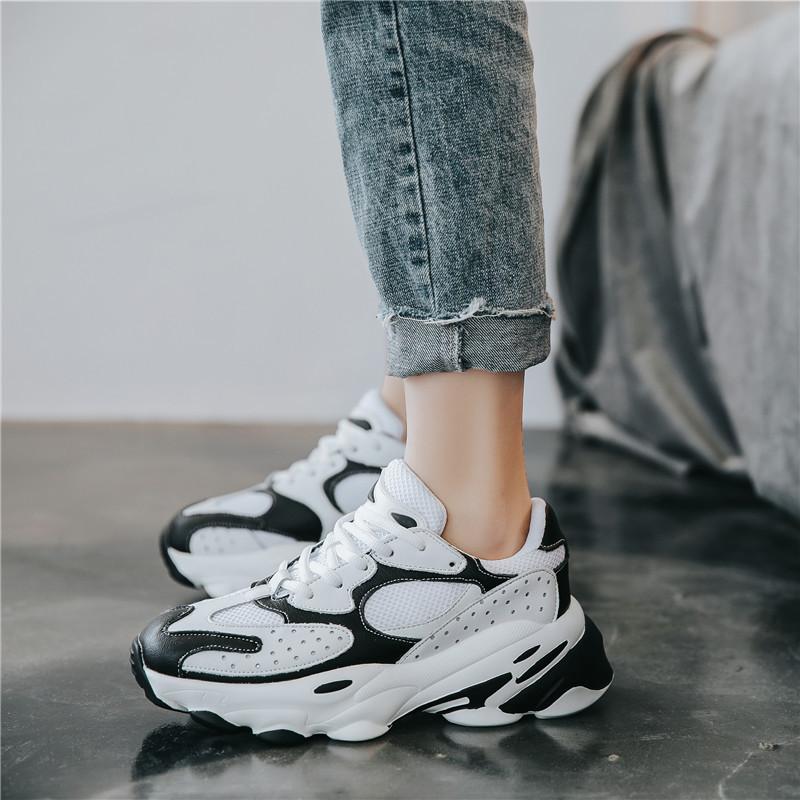 YIDIANLIANG Giày lười / giày mọi đế cao Giày sneaker đôi mẫu 2019 thu đông mới phối màu nền tảng già