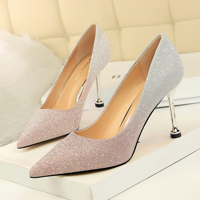 BIGTREE Giày nữ trào lưu Hot 0755-1 Giày cao gót thời trang Hàn Quốc cao gót nông mũi nhọn màu sáng