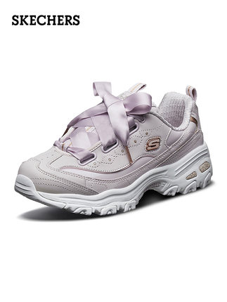 Skechers  giày bánh mì / giày Platform Skechers Giày nữ Skechers Bow Ribbon Sponge Cake Dày đáy Giày