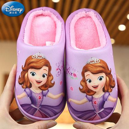 Disney dép trẻ em Dép trẻ em Disney cho bé gái mùa thu và mùa đông Cô bé Sophia bé gái cha mẹ dép tr