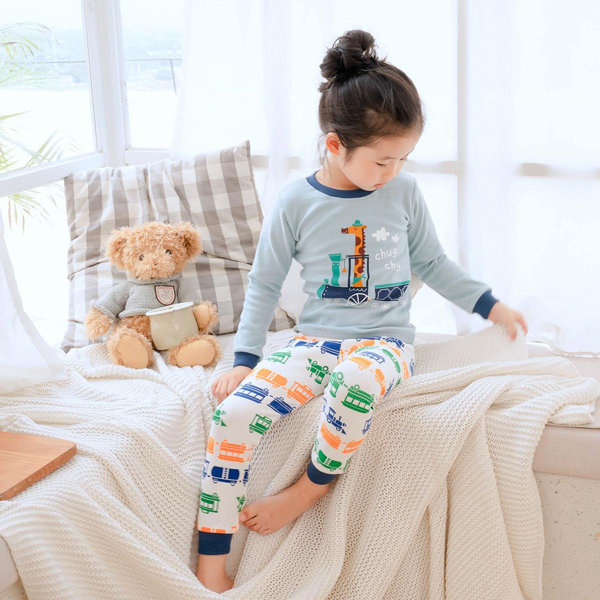 MOMBEBE Đồ ngủ trẻ em Túi đựng đồ giúp tóc kiểu nổ 2019 Bộ đồ ngủ trẻ em mùa thu đông 2018 Dịch vụ t