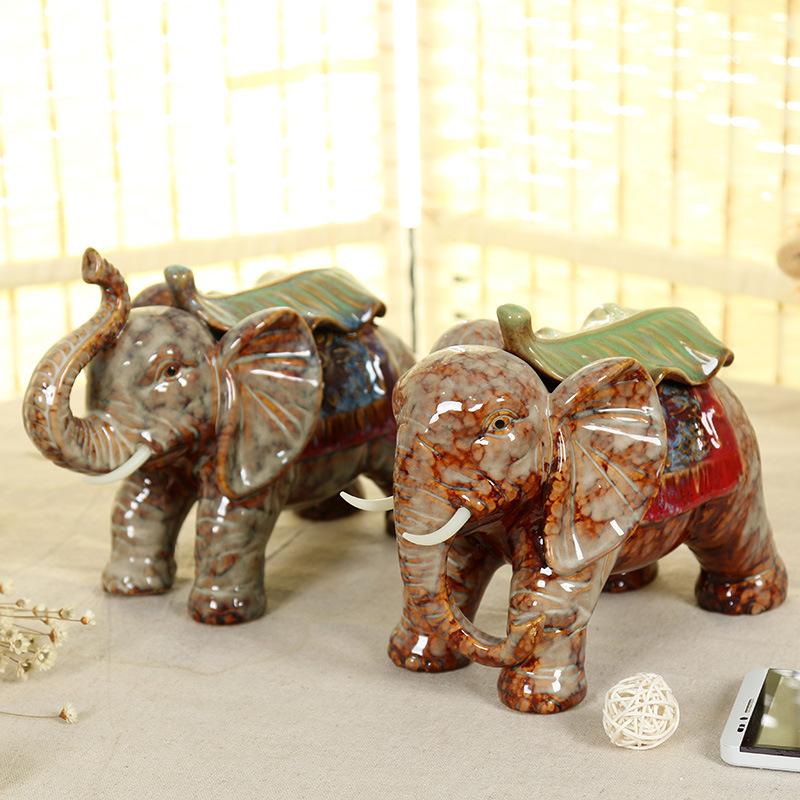 YASHENG - Đồ Trang trí chú voi bằng gốm sứ .