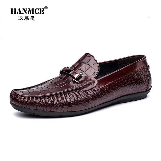HANMUSI Giày mọi đế thấp Túi tóc giúp 2019 Giày da nam của Anh mẫu da cá sấu đậu Hà Lan Giày nam giả