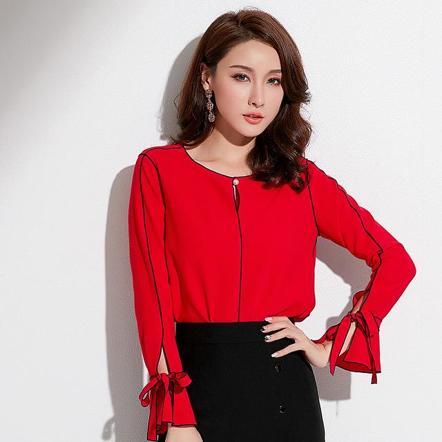 Thời trang nữ Túi tóc giúp mùa xuân 2019 thương hiệu mới dành cho nữ phiên bản Hàn Quốc của áo sơ mi