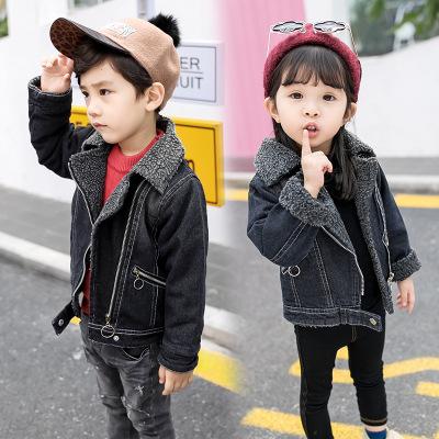 Bunoshin Trang phục Jean trẻ em Áo khoác trẻ em mùa đông nam nữ có khóa kéo chéo denim áo khoác len