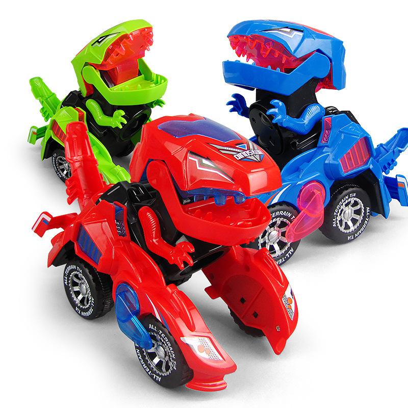 xe điện đồ chơi biến dạng khủng long đỏ Douyin