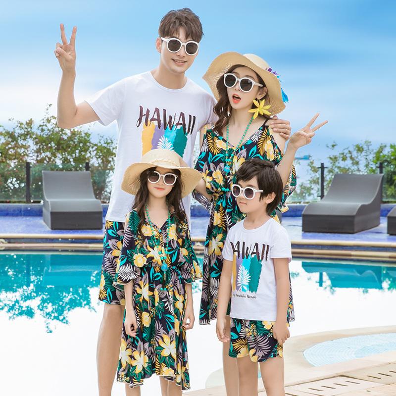 HSYJR Áo thun gia đình Bãi biển mùa hè cha mẹ-con mới thủy triều mẹ mẹ mẹ và con trai một gia đình b