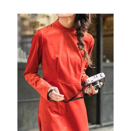 Yinman Đầm [Giải phóng mặt bằng] Inman văn khí ôn hòa nửa cổ áo dài tay thắt eo nữ mùa thu và váy dà