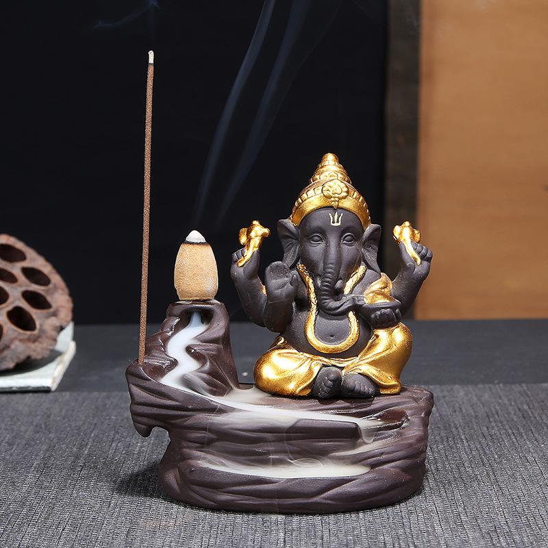 Tượng xông đốt trầm hương thiết kế với dòng chảy và chú voi Ganesha Ấn Độ