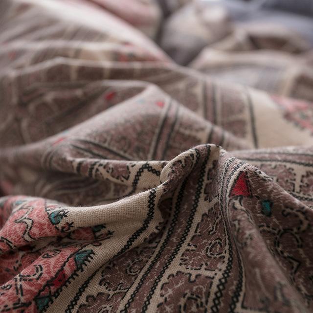 QIAOFANNA Dệt may gia dụng Túi tóc giúp Một mét tám chăn bông chà nhám bốn mảnh set 1.8x2.2 khăn trả