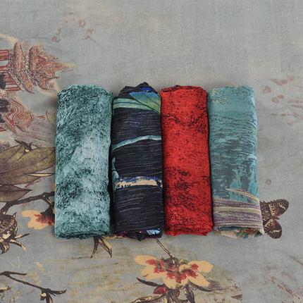 Sợi gai  Mùa xuân và mùa hè voan in băng vải lụa chất liệu trang phục cổ Hanfu vải đầm lót quần áo m