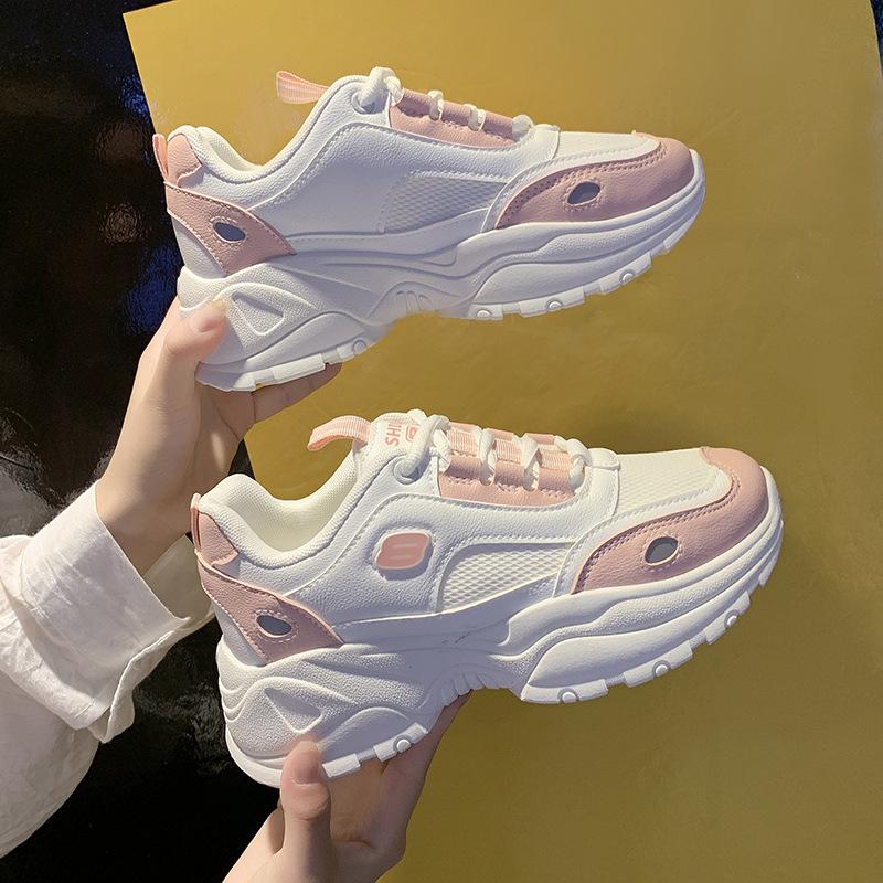 Giày tăng chiều cao Giày cũ hoang dã nữ 2019 mùa thu mới thoáng khí học sinh cũ Giày nữ nữ Giày thể