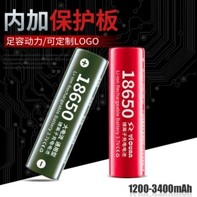 YIQUAN Pin Lithium-ion Cộng với bảng bảo vệ 18650 pin lithium 3.7V đầu phẳng nhọn đèn điện pin đồ ch