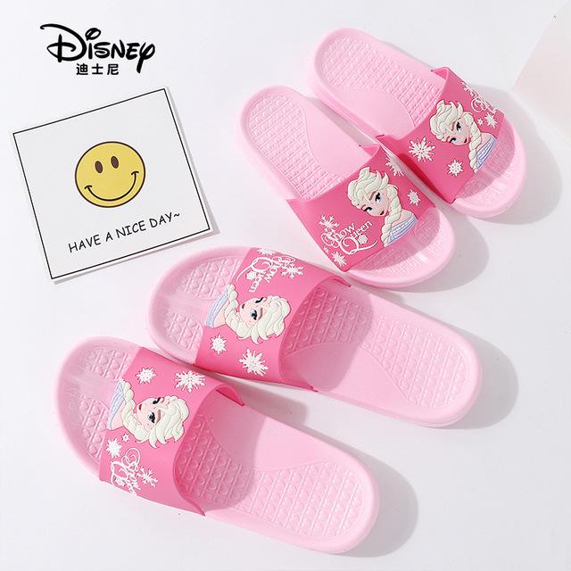 Disney dép trẻ em Túi kẹp tóc Disney Công chúa hoạt hình Cha mẹ trẻ em dép mùa hè trượt trong nhà dé