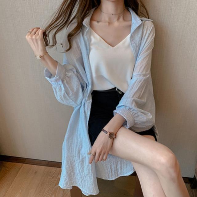 áo khoác 2019 thời trang mới áo sơ mi sọc dài nữ thiết kế ý nghĩa thiểu số áo sơ mi dài tay áo chống