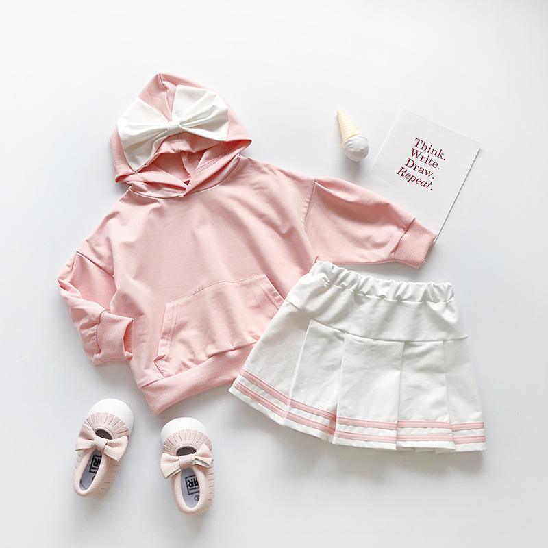 MENGDANGDANG Đồ Suits trẻ em 819 bộ đồ trẻ em bé gái dễ thương nơ áo len trùm đầu + váy phù hợp với