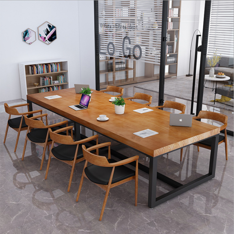 BOBANG Nội thất Nhà máy đơn giản hiện đại gỗ rắn bàn sắt rèn nhân viên văn phòng bàn ghế kết hợp bàn