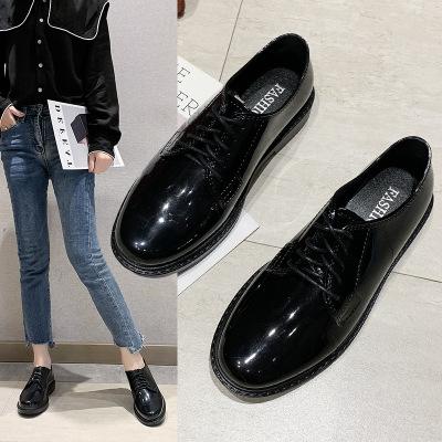 Giày GuangDong Một thế hệ thời trang Hàn Quốc gió tròn đầu nhỏ giày nữ chống trượt bằng sáng chế da