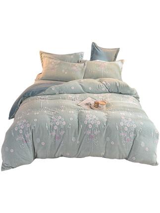 BEIJIRONG Vải Polyester San hô nhung bốn mảnh dày mùa đông pha lê nhung tấm chăn bao gồm ba mảnh của
