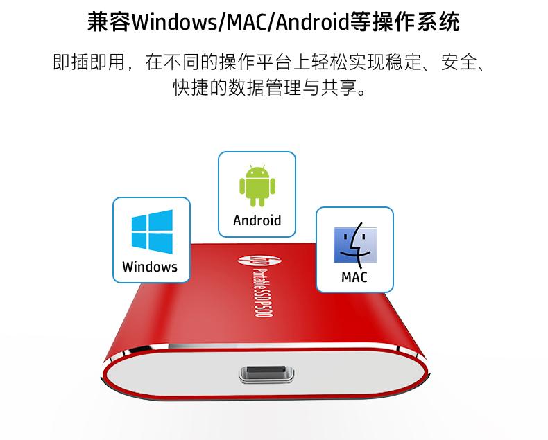 Ổ cứng di động Kiểu HP/ HP di động SSL 120/ 250/ 500g phụ thuộc vào SSD nhỏ siêu tốc di động dạng U