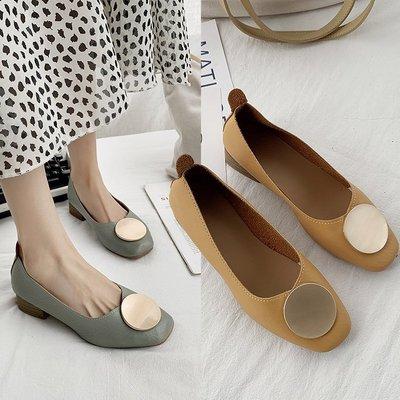 Giày da một lớp  2019 mùa thu mới kim loại khóa tròn giày đơn nữ phiên bản Hàn Quốc miệng nông bằng