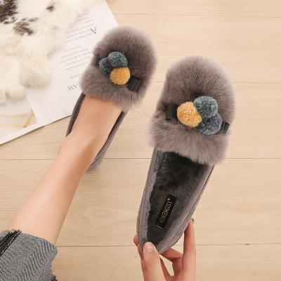 Giày GuangDong Giày lưới màu đỏ với giày lông thỏ thật mùa đông cộng với nhung dày ấm đôi giày lười