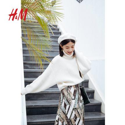 HM tay dài Áo len nữ mùa thu đông 2019 mới dành cho nữ Áo len dài tay đan chéo áo thun cao cổ tròn 0