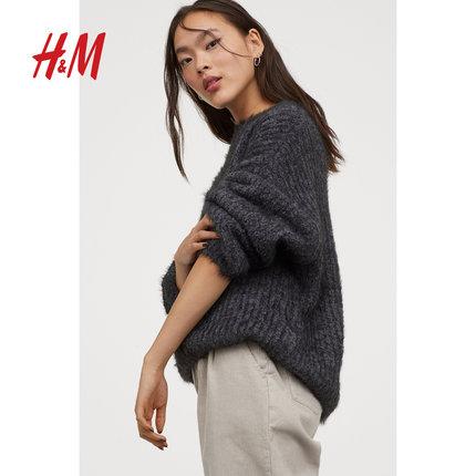 HM tay dài HM Sesame Street đồng thương hiệu áo len nữ DIVIDED 2019 mùa thu đông mới áo thun dài tay