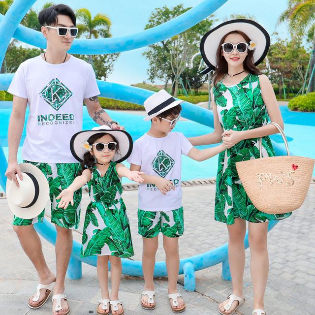 STQQ Áo thun gia đình Cha mẹ mới mặc áo ba lỗ ngắn tay mùa hè phù hợp với gia đình mặc váy mẹ và con