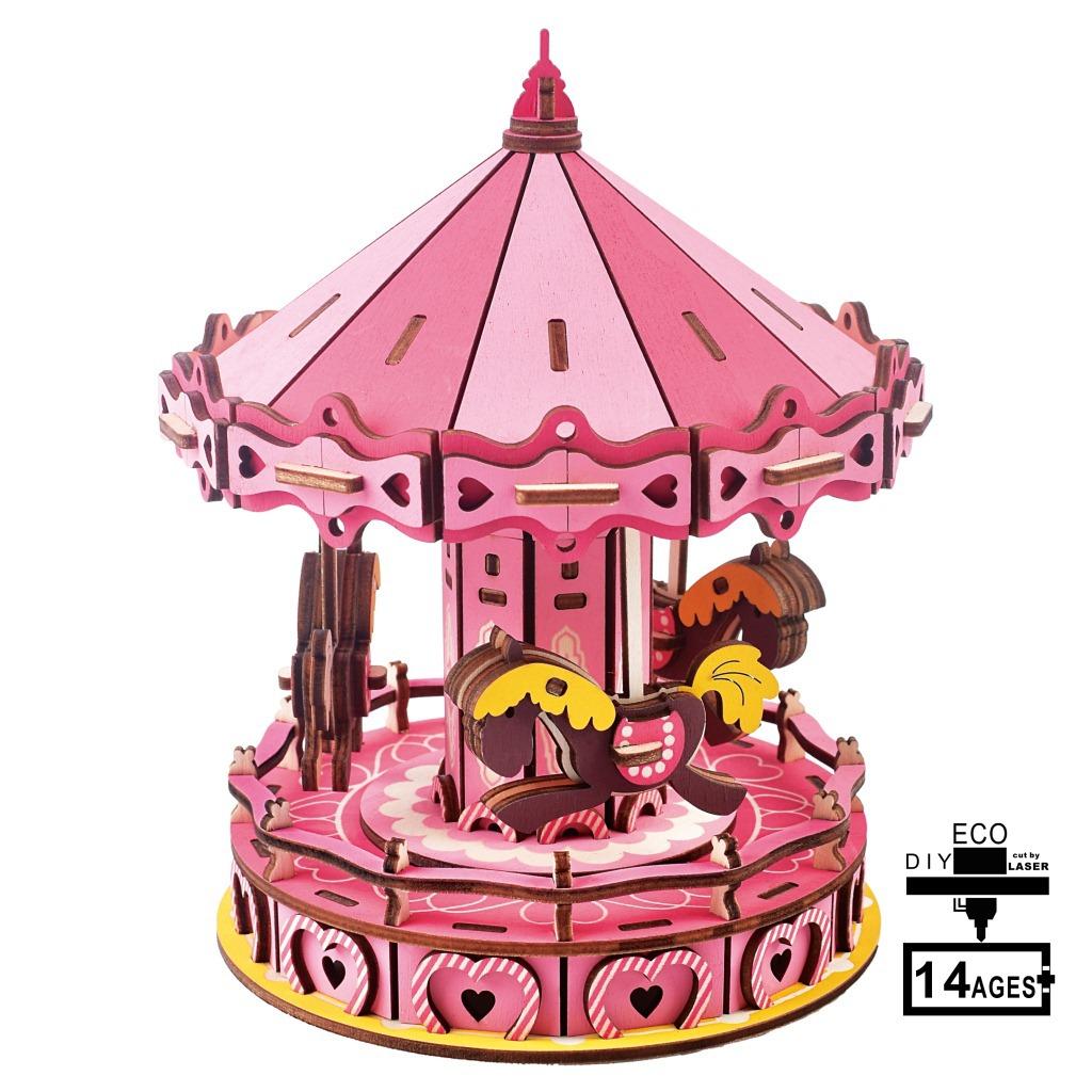 NEW-LAND Tranh xếp hình 3D Carousel Laser Edition Câu đố 3D Câu đố DIY Kids Câu đố Lắp ráp Đồ chơi b