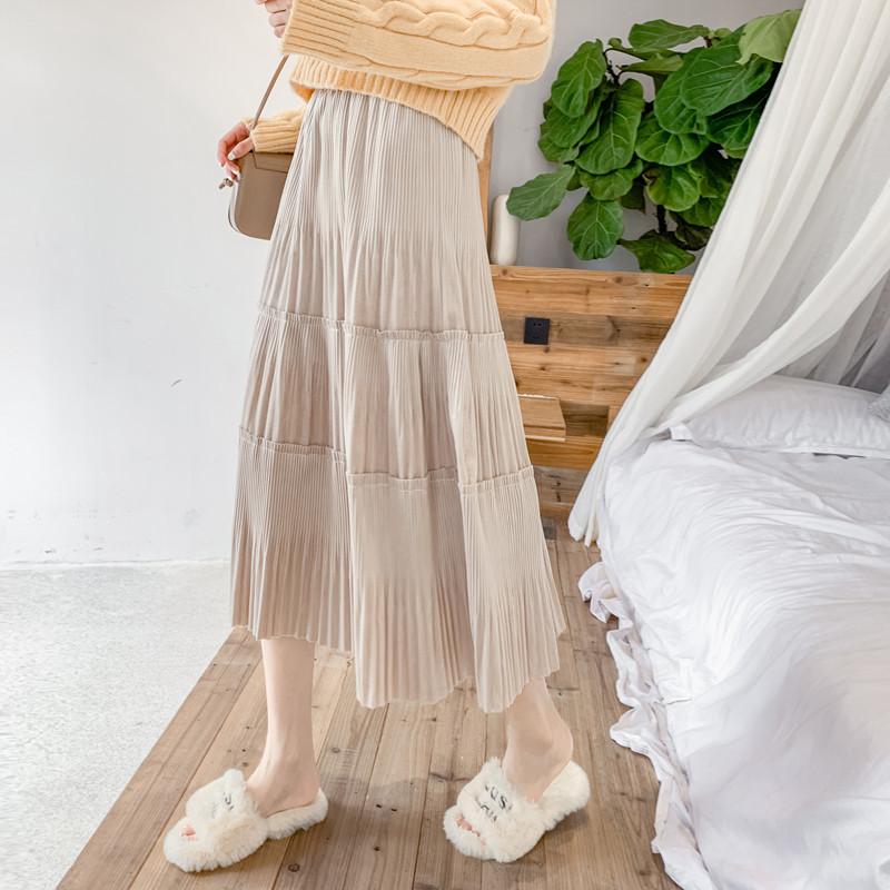 Váy siêu lửa trong váy dài xếp li của học sinh đã mỏng manh thu đông 2019 váy phổ biến eo cao một ch