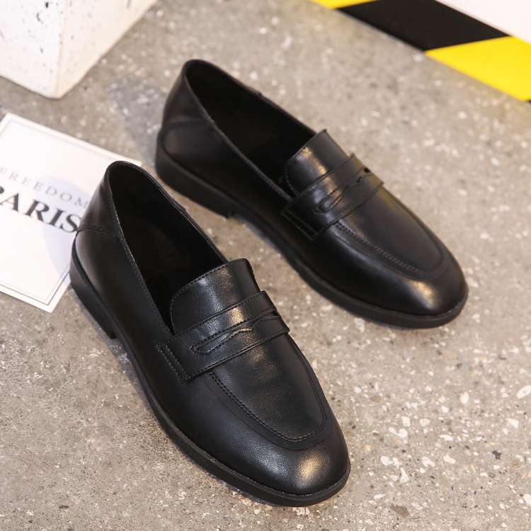 Giày Loafer / giày lười Bốn mùa nông miệng nhỏ giày nữ 2019 thu đông mùa đông mới da hoang dã đơn gi