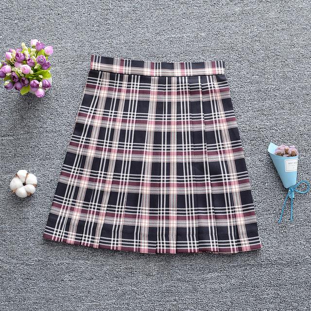 váy Cao đẳng Nhật Bản Eo cao Phòng màu đen Apricot JK Đồng phục Váy xếp li Mùa xuân hè Thu Váy Váy đ