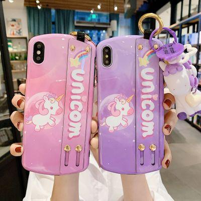 ZHONGXING Ốp lưng Iphone 6 Vòng đeo tay mới Unicorn XR Apple XS MAX với giá treo cho iPhone6P vỏ bảo