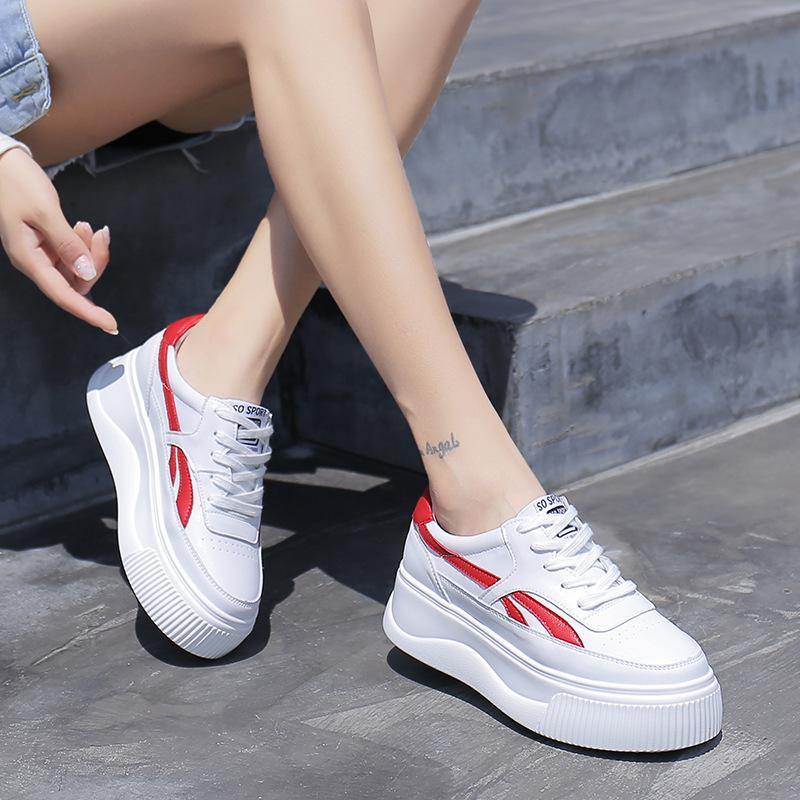 giày bánh mì / giày Platform Giày trắng nhỏ nữ 2019 mùa thu mới giày đế bệt đế dày đế dày tăng giày