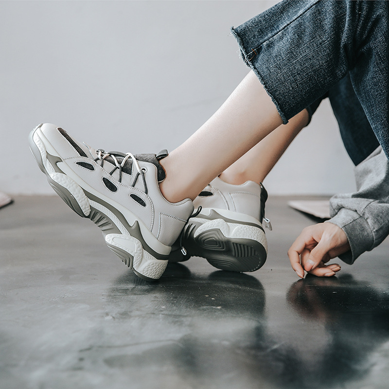YIDIANLIANG Giày lười / giày mọi đế cao Giày thể thao nữ Ôn Châu 2019 mới lưới màu đỏ hoang dã giày