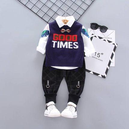 AIMIANFANG Vải dệt kim  Bé trai mùa thu ba mảnh 2019 bé mới 1-4 tuổi áo len dệt kim mùa xuân và mùa