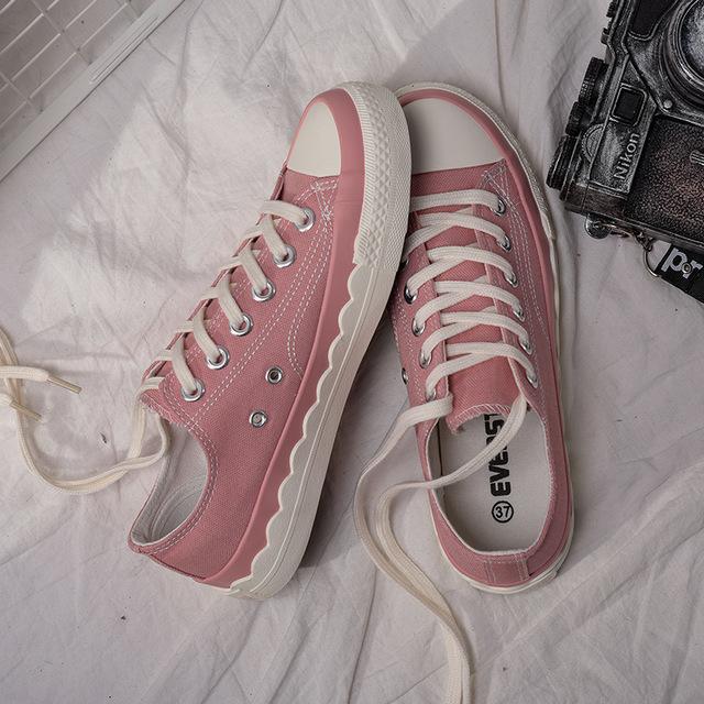 EVENSTAR giày vải Túi kẹp tóc Comet EVENSTAR giày đế xuồng ren lượn sóng nữ sinh viên 2019 phiên bản