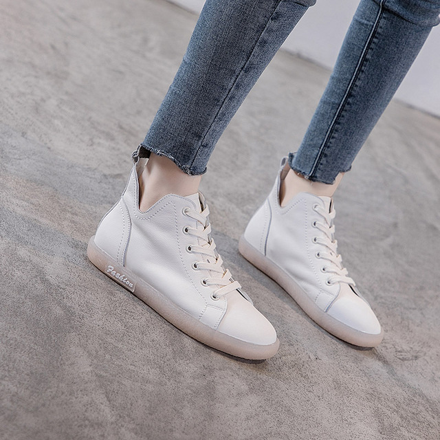 JUZI Giày trắng nữ Túi đựng tóc giúp mùa thu mới bằng chất liệu da retro có đế mềm, cao để giúp giày