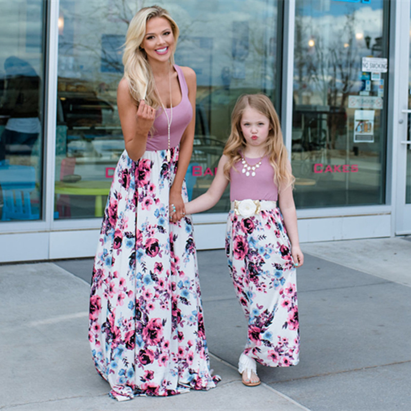 Áo thun gia đình 2019 vụ nổ mới của phụ nữ châu Âu và Mỹ phụ huynh-con mặc ebay mẹ và nữ váy khảm vá