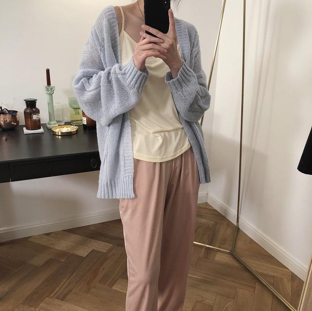 Seizprojects Áo khoác Cardigan 2019 đầu xuân mới Hàn Quốc Dongdaemun mỏng lười đan áo len xoắn mohai