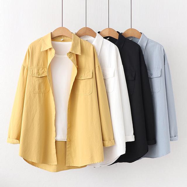 áo khoác Mùa thu hoang dã phiên bản mới của Hàn Quốc đơn giản lỏng lẻo màu rắn ve áo đôi túi áo dài