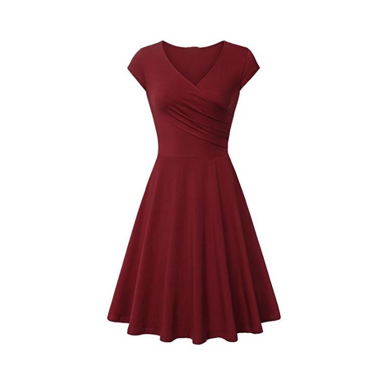 Thời trang 2019 mẫu ngoại thương hot hot nữ châu Âu và Hoa Kỳ mùa thu tay ngắn màu rắn Váy đầm rộng
