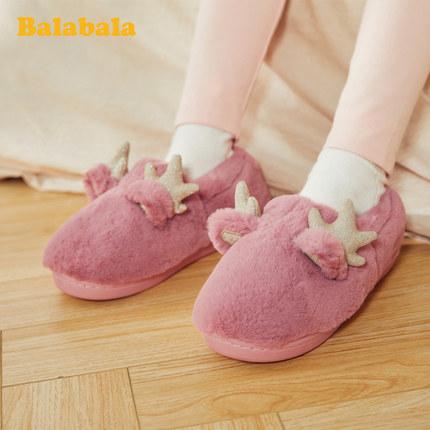 BALABALA dép trẻ em Dép đi trong nhà cho bé gái bằng vải cotton nữ Balabala 2019 mùa đông mới chống