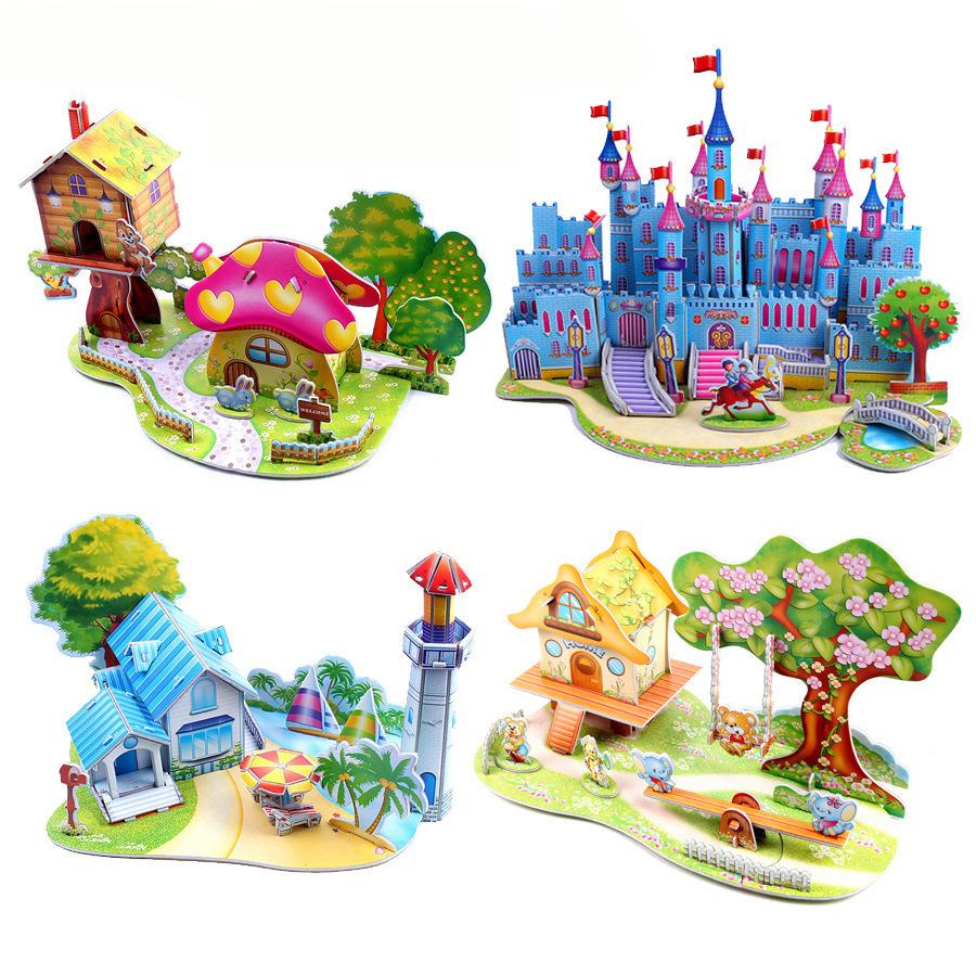 GUANGLV Tranh xếp hình 3D 3D mô hình câu đố ba chiều câu đố đồ chơi Castle trẻ em giấy chính tả chèn