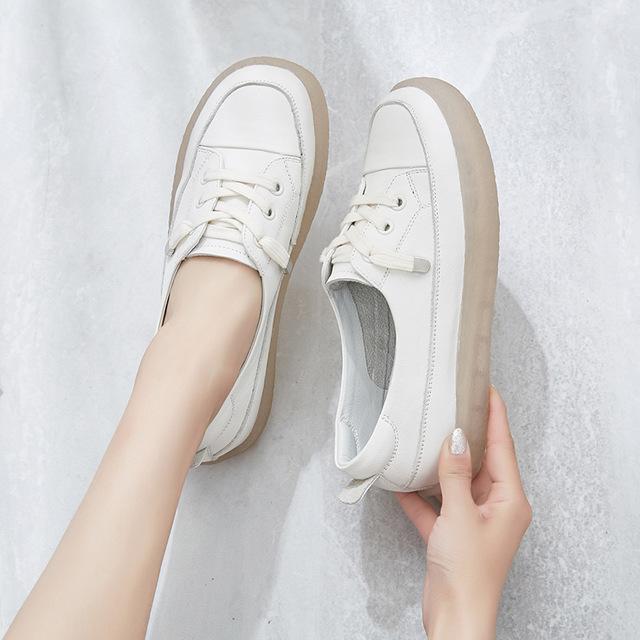 JUZI Giày trắng nữ Túi tóc giúp Retro Sen cỡ lớn gân mềm đế giày nữ lớp đầu tiên da nhỏ Giày trắng đ