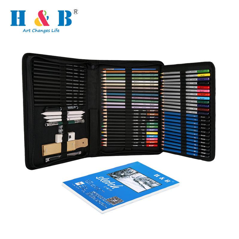 H&B Đồ mỹ nghệ Bộ tranh mới Bút chì màu phác thảo Bộ 71 tác phẩm nghệ thuật chuyên nghiệp cung cấp x