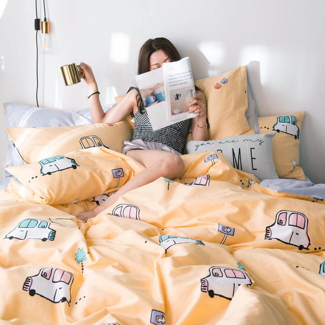 Bộ drap giường Túi đựng tóc giúp lưới màu đỏ đơn giản phiên bản AB in cotton ba hoặc bốn mảnh cotton